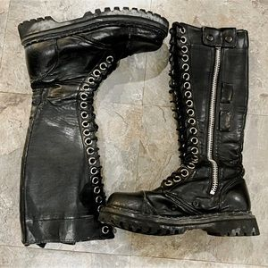 Demonia black tall lace up combat boots- 7